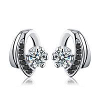 E10 Ohrringe Stern im Halbkreis schwarz weiß Zirkonia 925 Sterling Silber
