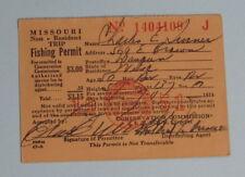 1951 Missouri Non Resident Trip Fishing License Permit.Free Shipping!