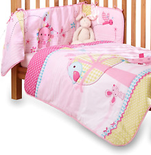 Clair de Lune Lottie & Squeek BABY Cot/ Cot Bed Quilt & Bumper Bedding Set Pink