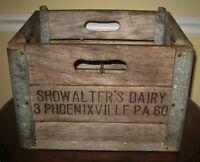 Vintage Wooden Wood Metal Milk Crate Showalter's Dairy Pheonixville