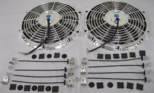 "Dual 12"" Universal Chrome S-Blade Electric Radiator Cooling Fan + Mounting Kit"