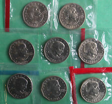 1979 1980 and 1981 PDS SBA Dollars 8 Coins Susan B Anthony $1 From US Mint Sets