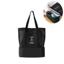 Cabas sac à pique-nique ou à provisions multifonctions pliable et isotherme NOIR