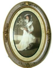 Home interior Oval Picture A Young Beautiful / Victorian woman dressed White