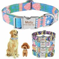 Nylon Personalized Dog Collar Adjustable Pet Engraved Custom ID Name Tag S M L