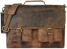 "16"" Inch Retro Buffalo Hunter Leather Laptop Messenger Bag Office Briefcase"