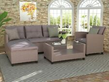 New listing 4 pc Outdoor Patio Furniture Sets Conversation Set Wicker Ratten Sectional Sofa