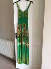 BNWT Ladies Size M Green With Paisley Pattern Halterneck Full Length Maxi Dress