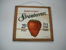 sweet Juicy Strawberries Pick Your Own Wooden Kitchen Wall Art Sign fruit decor