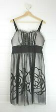 CITY CHIC Black Sheer over Silver Formal Dress Glittery Roses Size XS Size 14