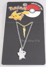 New Pokemon Go Pikachu & Lightning Bolt Charm Mixed Metal 2 Layer Necklace Set
