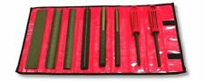 Perma-Grit Set of 8 Hand Tools COURSE, in Red Canvas Roll / Perma Grit