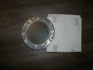 """8"""" Round Wall Mirror Silver Pewter Color Metal Frame w Swirls NIB"""