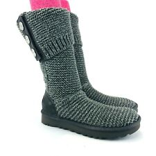 UGG Womens Size 6 Charcoal Grey Purl Cardy Knit Boot 1094949 NEW