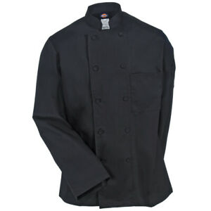 NWT DICKIES UNISEX CLOTH COVERED BUTTON CHEF COAT BLACK DC44