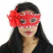 Red Deluxe Fancy Dress Masquerade Lace Mask with Sequins & Flowers - Aletta