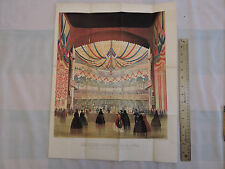 "Original 1864 Brooklyn City 16x20"" Lithograph Civil War Fair Academy of Music"
