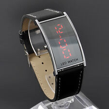 Casual Cool LED Digital Date Watch Black Leather Strap Lady Men Wristwatch Mirror Face