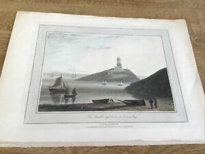 Antique Print Mumbles Lighthouse In Swansea Bay Wales Wm  Daniell Orig Colour