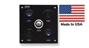 Switch Panel 4 Rocker, push button, Blue LED, 12V, Square, W/Labels. USA Made.
