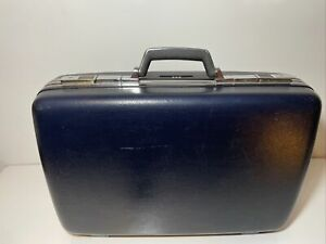 Vintage American Tourister Blue Hard Shell Suitcase Luggage Keys