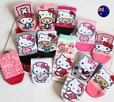 NEW 3 PAIRS Lady Women Girls Japan Hello Kitty Casual Cute Short Socks  AUS 4-8