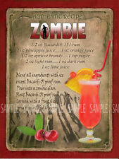 ZOMBIE  COCKTAIL RECIPE METAL SIGN :HOME BAR:PUB:BAR:CAFE:KITCHEN LOVELY GIFT