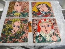 4  EMAILLE Bilder auf Kupfer - Stegemaille - Frauen Portraits - 4 Jahreszeiten ?
