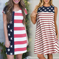 Fashion Women Casual Patriotic Stripes Star American Flag Print Short Tank Dress