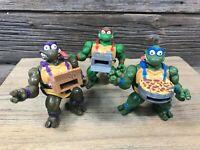 1993 TMNT Pizza Tossin Turtles Set of 3 Loose Vintage Teenage Mutant Ninja Turtl