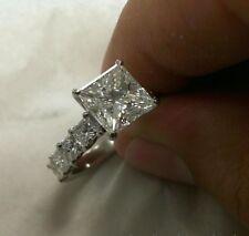 real 14k white gold 3 carat diamond princess cut engagement wedding promise ring