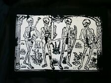 SKELETON BONE BAND WOOD BURNING STAMP CULT FILM MOVIE BLACK CANVAS BACK PATCH