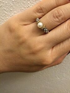 LAGOS Sterling Silver & 18K Gold with White Pearl Caviar Ring Size 7