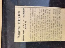 M3-9a ephemera 1941 dagenham ww2 cricket goodmayes v wardens post 18 t dougan