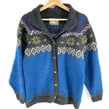 The Alpaca Connection Peruvian Cardigan Sweater Knit Button Down Sz Large Blue