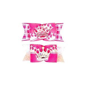 Dog Hair Bows- Rhinestone Crown Princess Tiara Hot Pink  Elastics or Barrette