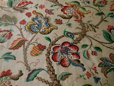 Vintage French Jacobean Tree of Life Cotton Fabric ~Green Red Blue Mustard Brown