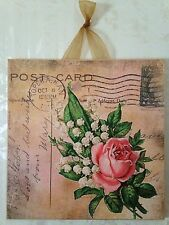 Vintage Shabby Gold Postcard w/ Rose Wall Decor Sign Plaque French Country Chic