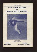 November 22 1942 NFL Program Green Bay Packers at New York Giants VGEX