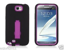 Samsung Galaxy Note II 2 Hybrid S Armor Case Skin Cover w/ Stand Black Hot Pink