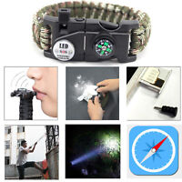 Paracord Bracelet LED Flint Fire Starter Compass Whistle Knife Outdoor Camping