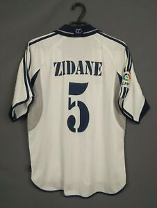 Zidane Real Madrid Jersey 2000 2001 Home LARGE Shirt Football Soccer Adidas ig93