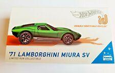 Hot Wheels '71 Lamborghini Miura SV Green 01/04 2020 ID Series 2 - Factory Fresh