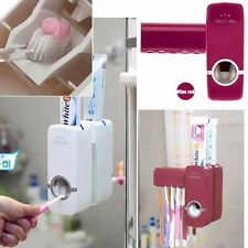 Auto Automatic Toothpaste Dispenser+ 5 Toothbrush Holder Set Wall Mount Stand QE