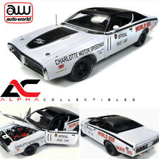 AUTOWORLD AW223 1:18 1971 DODGE CHARGER WHITE CHARLOTTE MOTOR WORLD 600 PACE CAR