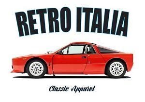 LANCIA 037 STRADALE t-shirt. RETRO ITALIA. CLASSIC CAR. RALLY CHAMPION.