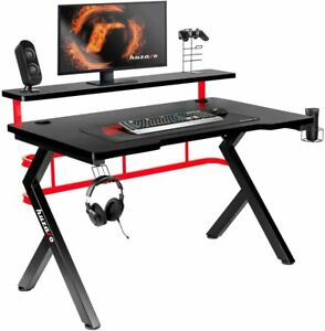 Gaming Table Computer Table For Gamer RGB Desk 47 3/16x23 5/8x27 5/8in Red