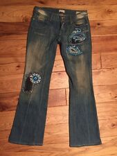 People For Peace Paisley Embroidered With Bling Blue Jeans Size 29 Inseam 31