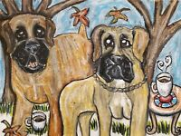 Boerboel Drinking Coffee Dog Art Print 8x10 Signed by Artist KSams Vintage Style