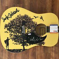 Jack Johnson Signed Guitar PSA/DNA COA Custom Graphics 1/1 Upside Down